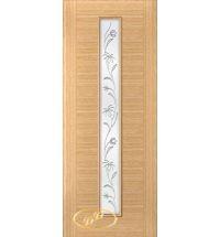 фото: Дверь Кристалл-1, шпон дуб, багет дуб, стекло сатинат рис.5, гравировка