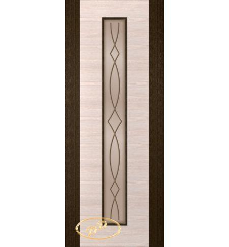фото: Дверь Кристалл-1, шпон венге/белёный дуб, багет венге, стекло сатинат бронза рис.3, гравировка