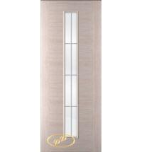 фото: Дверь Кристалл-1, шпон белёный дуб, багет беленый дуб, стекло сатинат рис.1, гравировка