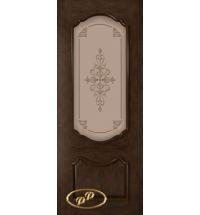 фото: Дверь Капри, шпон натуральный дуб тон каштан, стекло матовое бронза рис.Капри, гравировка