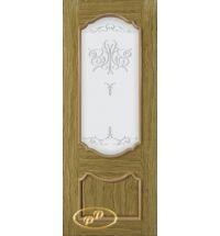фото: Дверь Капри, шпон натуральный дуб бесцвет.лак патина, стекло матовое рис.Вензель