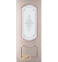 фото: Дверь Капри, шпон беленый дуб, стекло матовое рис.Капри, гравировка