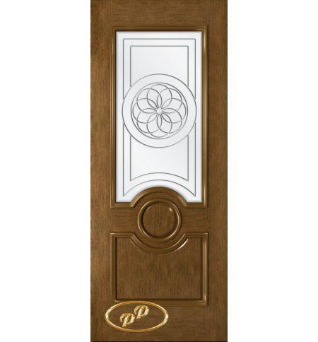 фото: Дверь Версаль, шпон натуральный дуб тон ольха, стекло сатинат рис.1, гравировка
