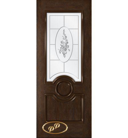 фото: Дверь Версаль, шпон натуральный дуб тон каштан, стекло сатинат рис.2, гравировка