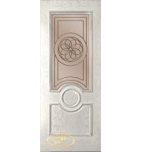 фото: Дверь Версаль, шпон натур.дуб тон капучино, стекло сатинат бронза рис.1, гравировка