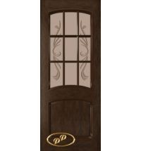 фото: Дверь Бали, шпон натуральный дуб тон каштан, стекло матовое бронза рис.Бали
