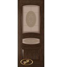 фото: Дверь Алина, шпон натуральный дуб тон каштан, стекло матовое бронза рис. Алина, гравировка