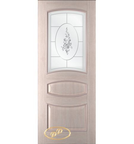 фото: Дверь Алина, шпон беленый дуб, стекло сатинат рис. Роза, гравировка