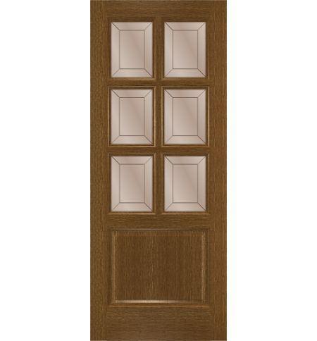 фото: Дверь Прага, шпон натуральный дуб тон ольха, стекло сатинат бронза гравировка рис.1