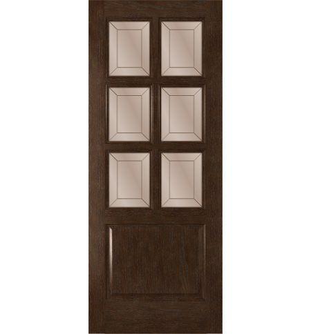 фото: Дверь Прага, шпон натуральный дуб тон каштан, стекло сатинат бронза гравировка рис.1