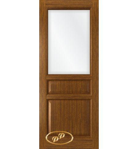 фото: Дверь Орион, шпон орех, стекло сатинат