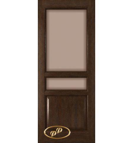 фото: Дверь Орион, шпон натуральный дуб тон каштан, стекло сатинат бронза