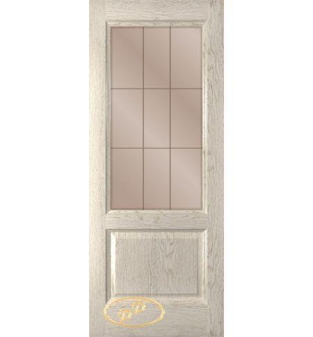 фото: Дверь Монако, шпон натуральный дуб тон латте, стекло сатинат бронза рис.1, гравировка