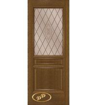 фото: Дверь Кантри, шпон натуральный дуб тон ольха, стекло сатинат бронза рис.Кантри, гравировка