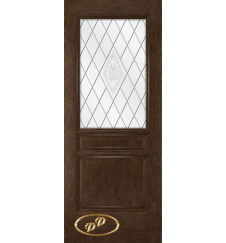 фото: Дверь Кантри, шпон натуральный дуб тон каштан, стекло сатинат рис.Кантри, гравировка