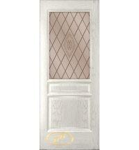 фото: Дверь Кантри, шпон натуральный дуб тон капучино, стекло сатинат бронза рис.Кантри, гравировка