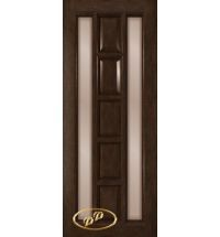 фото: Дверь Вега, шпон натуральный дуб тон каштан, стекло сатинат бронза