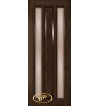 фото: Дверь Вега-1, шпон натуральный дуб тон каштан, стекло сатинат бронза