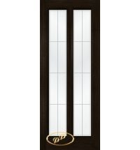 фото: Дверь Селена, шпон мореный дуб, стекло сатинат рис.1, гравировка