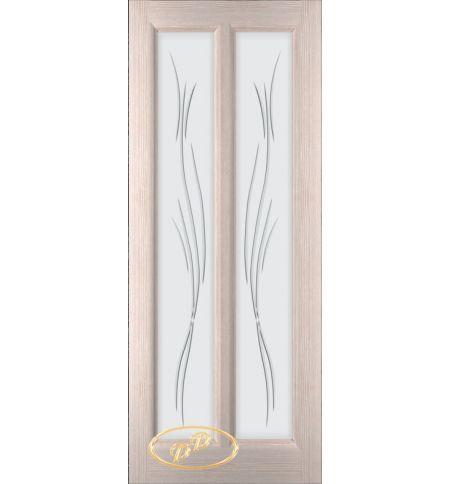 фото: Дверь Селена, шпон белёный дуб стекло матовое рис.Ветка