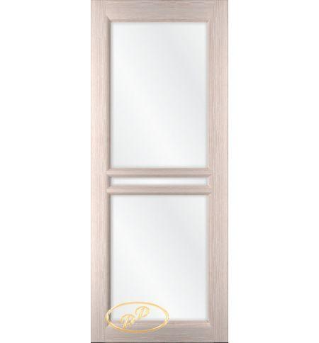 фото: Дверь Ронда, шпон белёный дуб стекло сатинат