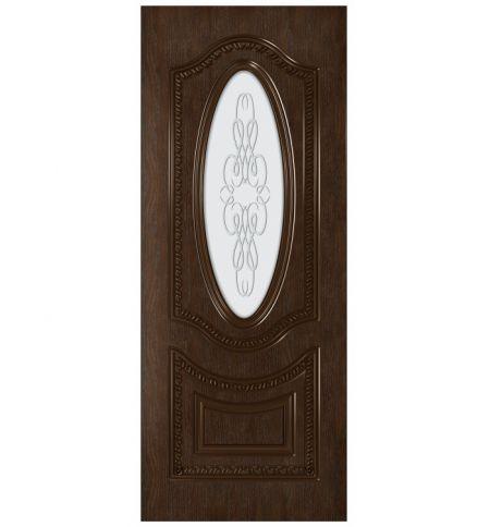 фото: Дверь Президент, шпон натуральный дуб тон каштан, стекло матовое рис.1 2-е матирование
