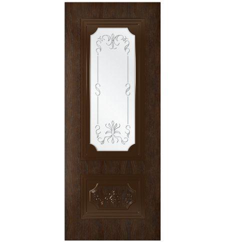 фото: Дверь Порта-1, шпон натуральный дуб тон каштан, стекло сатинат рис.1, гравировка