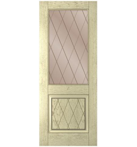 фото: Дверь Люкс, шпон натуральный дуб тон слоновая кость, стекло сатинат бронза рис.Решетка, гравировка