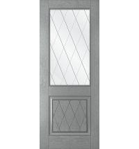 фото: Дверь Люкс, шпон натуральный дуб тон серый, стекло сатинат рис.Решетка, гравировка