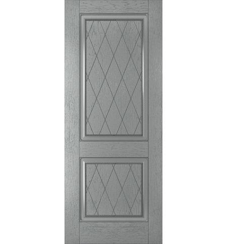фото: Дверь Люкс, шпон натуральный дуб тон серый