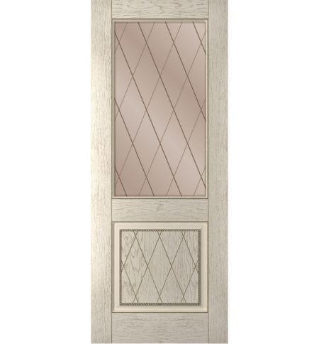 фото: Дверь Люкс, шпон натуральный дуб тон латте, стекло сатинат бронза рис.Решетка, гравировка