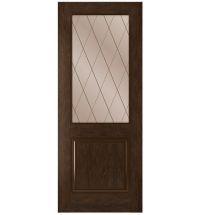 фото: Дверь Люкс, шпон натуральный дуб тон каштан, стекло сатинат бронза рис.Решетка, гравировка