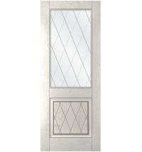 фото: Дверь Люкс, шпон натуральный дуб тон капучино, стекло сатинат рис.Решетка, гравировка