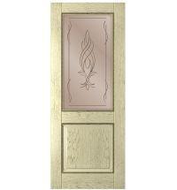 фото: Дверь Гранд, шпон натуральный дуб тон слоновая кость, стекло сатинат бронза, гравировка рис.1