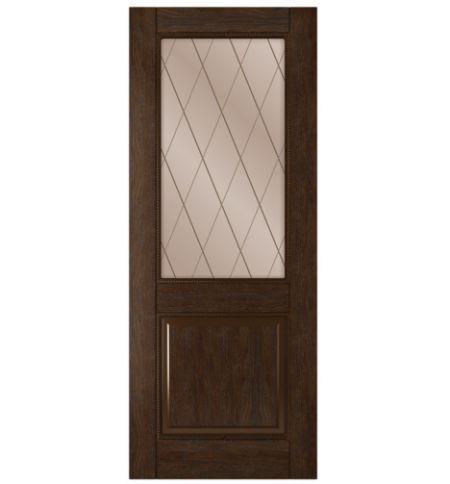 фото: Дверь Гранд, шпон натуральный дуб тон каштан, стекло сатинат бронза, гравировка рис.Решетка