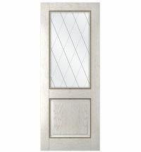 фото: Дверь Гранд, шпон натуральный дуб тон капучино, стекло сатинат гравировка рис. Решетка