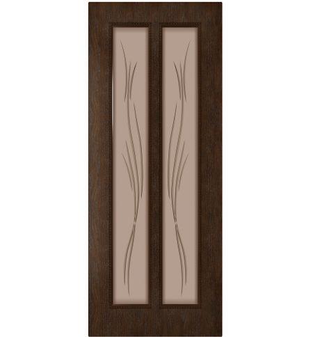 фото: Дверь Веста, шпон натуральный дуб тон каштан, стекло матовое бронза рис.Ветка