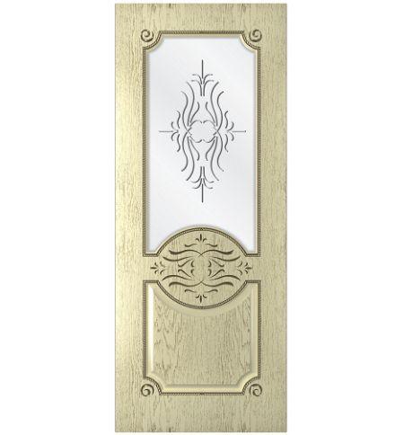 фото: Дверь Богема, шпон натуральный дуб тон слоновая кость, стекло сатинат рис.Богема, гравировка