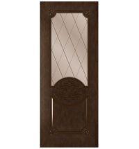 фото: Дверь Богема, шпон натуральный дуб тон каштан, стекло сатинат бронза рис.Решетка, гравировка