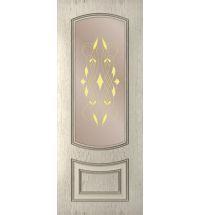 фото: Дверь Бергамо, шпон натуральный дуб тон латте, стекло сатинат бронза наплыв золотой, фотопечать рис.1