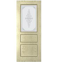 фото: Дверь Астра, шпон натуральный дуб тон слоновая кость, стекло матовое рис.1