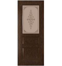 фото: Дверь Астра, шпон натуральный дуб тон каштан, стекло матовое бронза рис.1