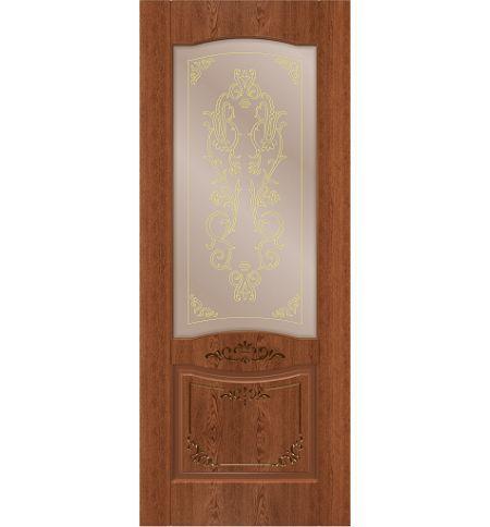 фото: Дверь Юнона, шпон натуральный дуб тон коньяк, стекло сатинат бронза наплыв золотой рис.1