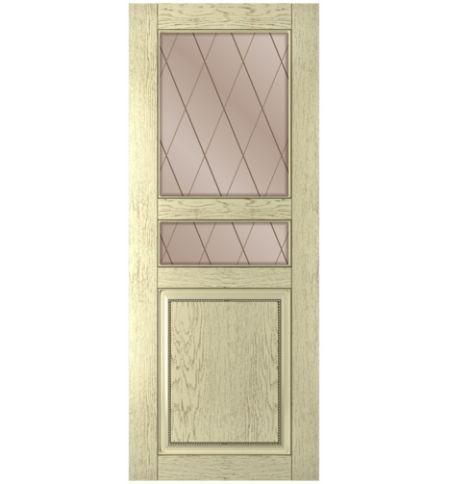 фото: Дверь Элит, шпон натуральный дуб тон слоновая кость, стекло сатинат бронза рис.Решетка, гравировка
