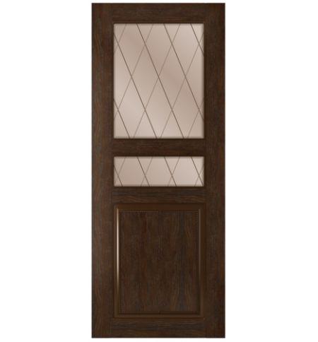 фото: Дверь Элит, шпон натуральный дуб тон каштан, стекло сатинат бронза рис.Решетка, гравировка