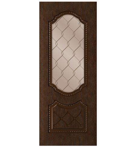 фото: Дверь Экстра, шпон натуральный дуб тон каштан, стекло сатинат бронза гравировка рис.1