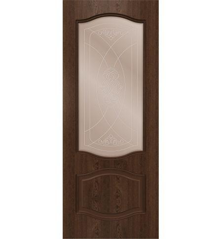 фото: Дверь Шервуд, шпон натуральный дуб тон миндаль, стекло сатинат бронза наплыв прозрачный рис.1