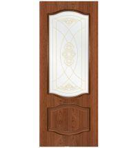 фото: Дверь Шервуд, шпон натуральный дуб тон коньяк, стекло сатинат наплыв золотой рис.1