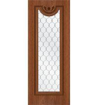 фото: Дверь Цезарь-2, шпон натуральный дуб тон коньяк, стекло сатинат гравировка рис.1