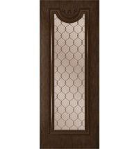 фото: Дверь Цезарь-2, шпон натуральный дуб тон каштан, стекло сатинат бронза гравировка рис.1